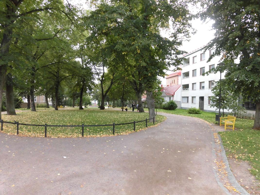 バス停近くの公園。黄色のベンチに誘われてしまいました