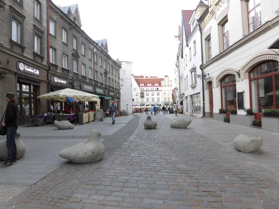 広場に車が入れないように石の鳥がたくさん。テロ対策?
