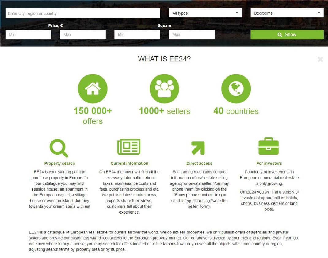 最近よく見てる欧州不動産のポータルサイト、EE24