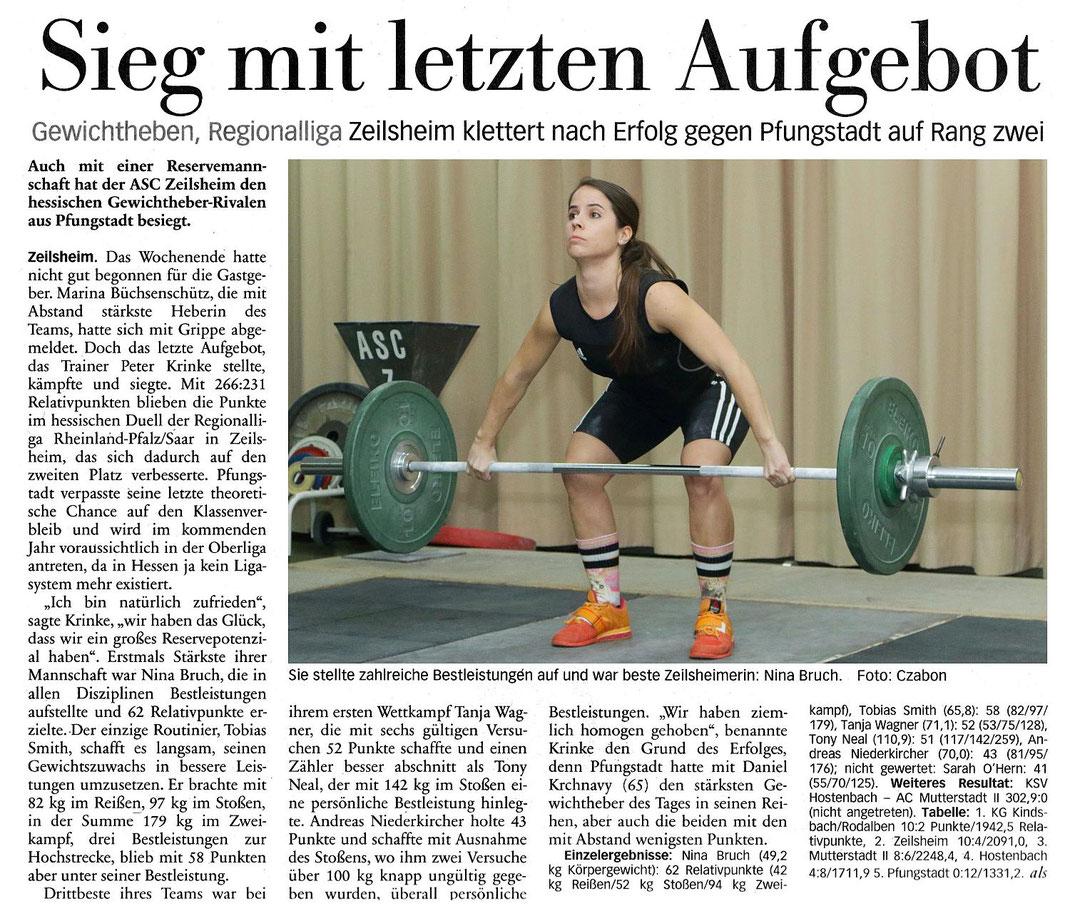 Gwichtheben Regionalliga ASC Zeilsheim gegen Pfungstatt