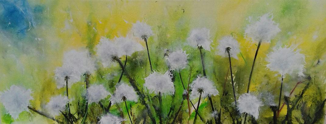 Pusteblumenwiese | Acryl | 40cm x 100cm