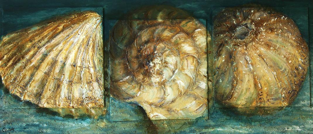 Strandgut | Acrylmischtechnik | 28cm x 65cm | Malpappe auf Sperrholz