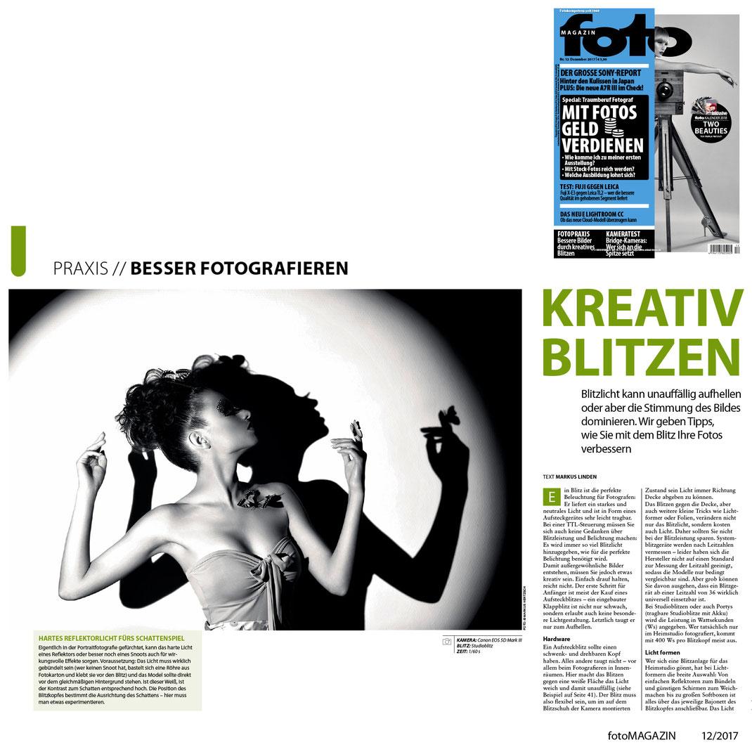 fotoMagazin 12 2017 - Markus Hertzsch - Kreativ Blitzen - Schatten - Silhouette - Model - Girl
