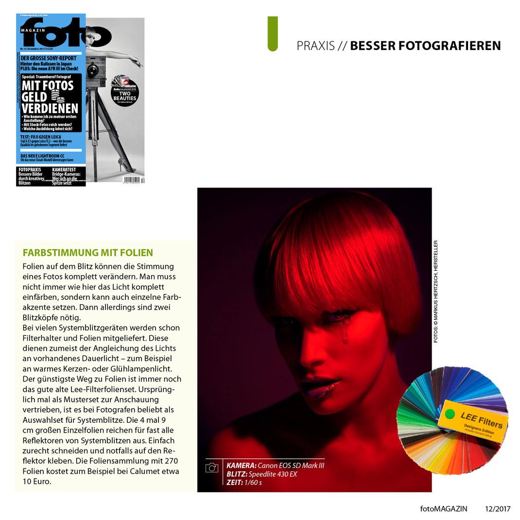 fotoMagazin 12 2017 - Markus Hertzsch - Kreativ Blitzen - Farbfolie - Model - Tear - Girl - Red
