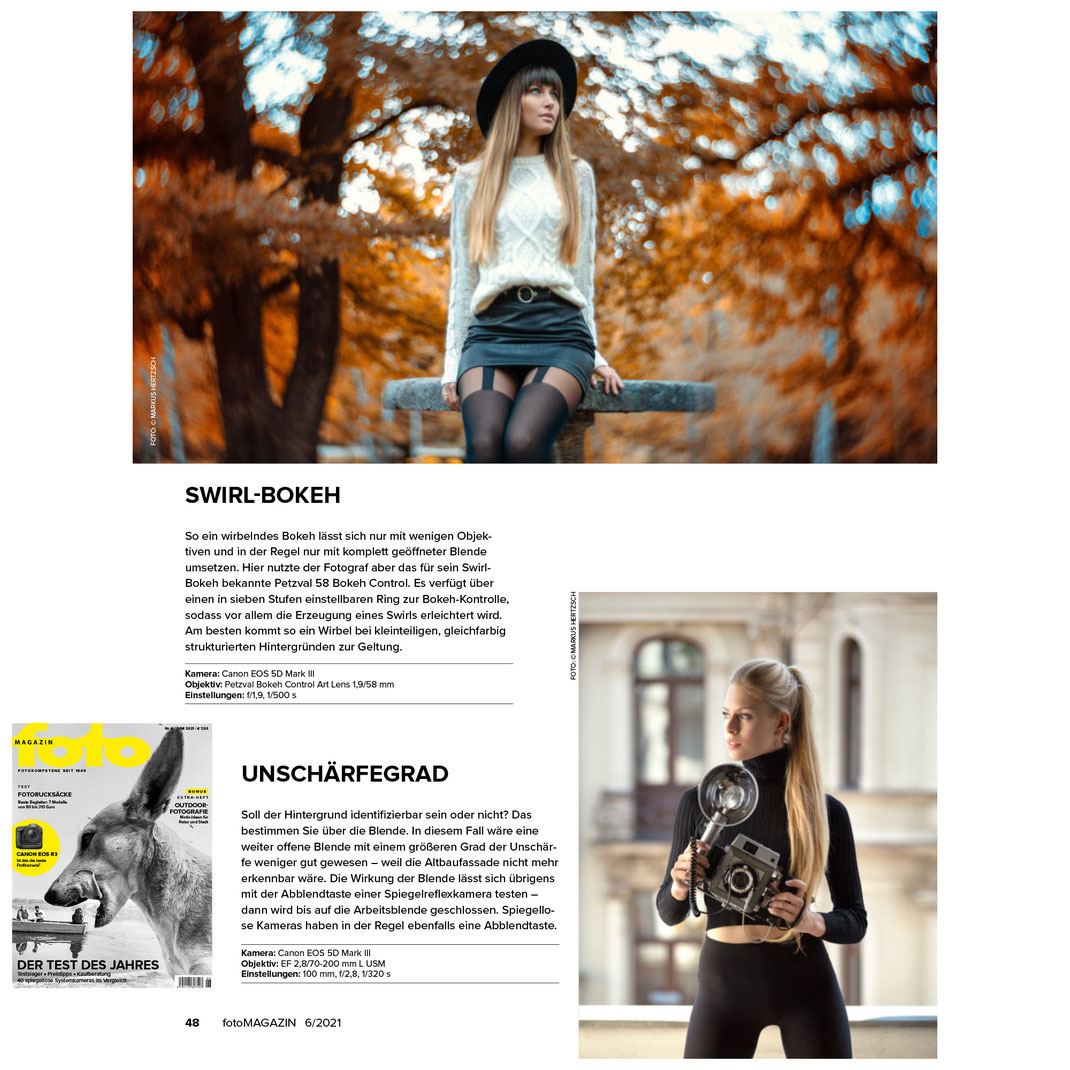 Fotomagazin 06 2021 - Markus Hertzsch - Girl - Model - Camera - Bokeh -  Portrait - Petzval - Fotoschule - Praxis