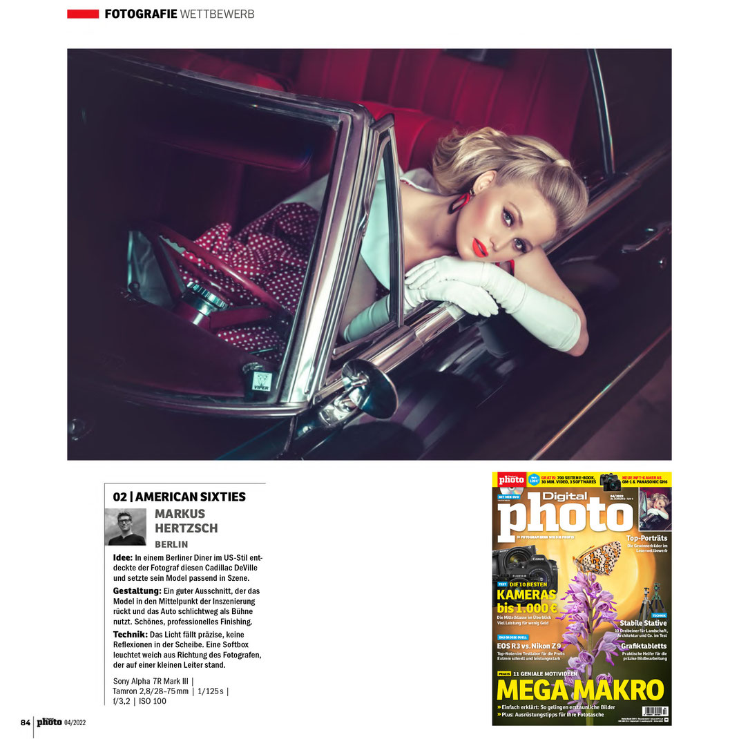 Fotomagazin 06 2021 - Markus Hertzsch - Girl - Model - Car - Redhead - Mustang - Portrait - Glass - Fotoschule - Praxis