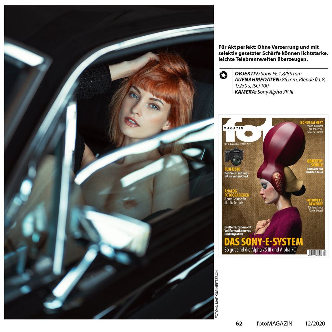 Fotomagazin 12 2020 - Markus Hertzsch - Objektivschule - Portrait - Nude - Model -Mustang - Girl - Pose - Body - Ford