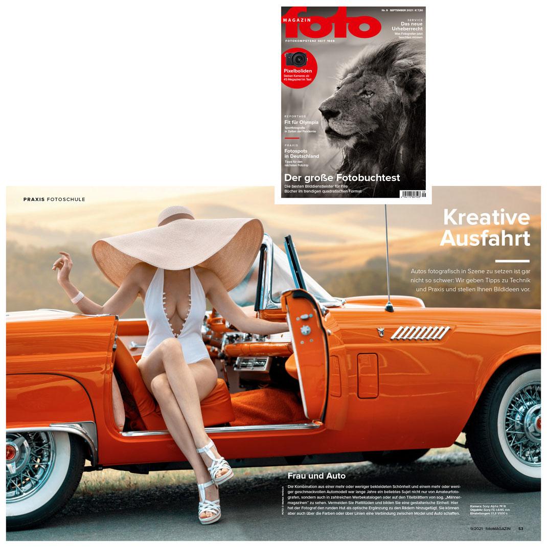 Fotomagazin 09 2021 - Markus Hertzsch - Girl - Model - Car - Fashion - Ford Thunderbird - Portrait - Hut - Oldtimer - Pose