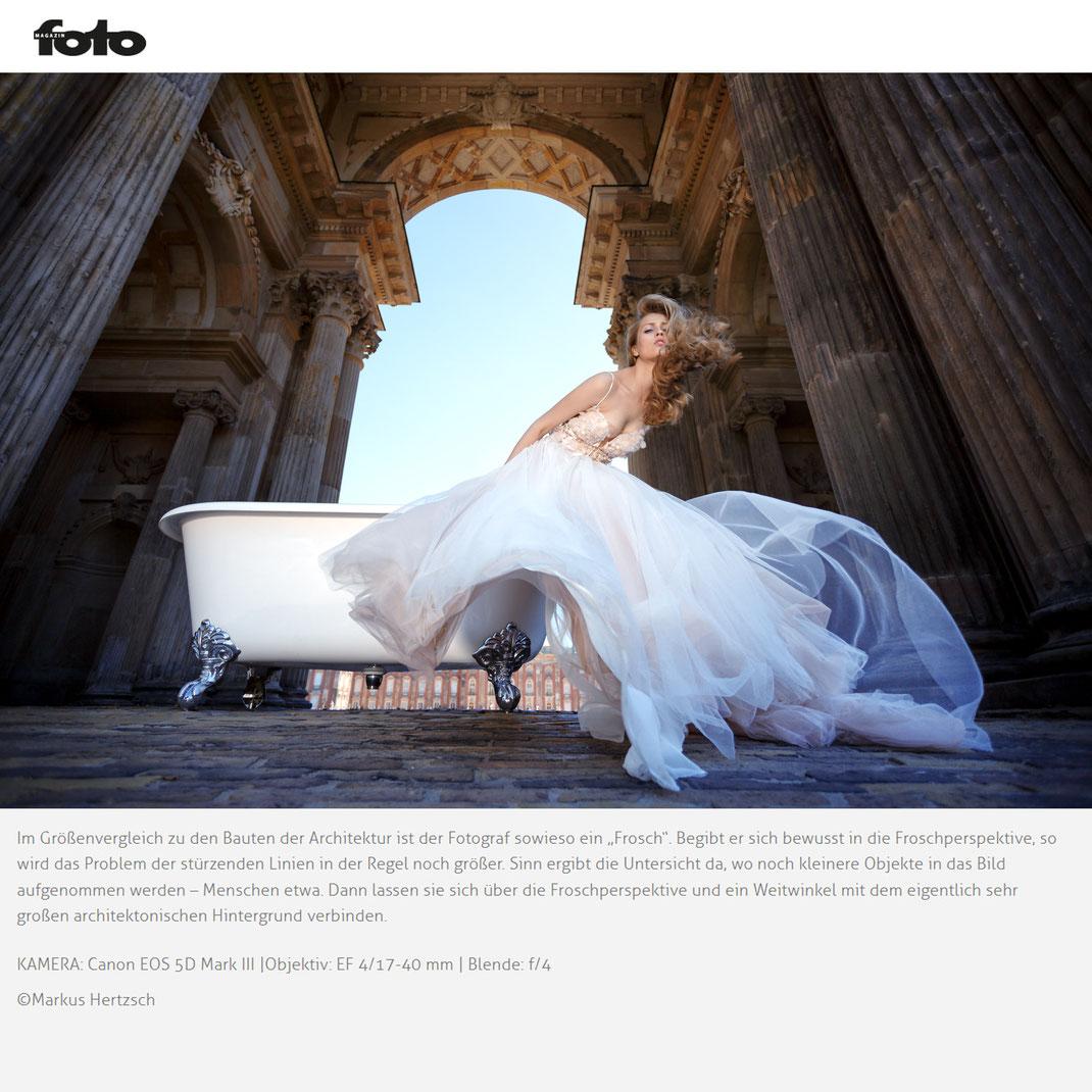 Fotomagazin Online -  01 2021 - Markus Hertzsch - Girl - Model - Bride - Dress - Architecture - Bathtub - Wind