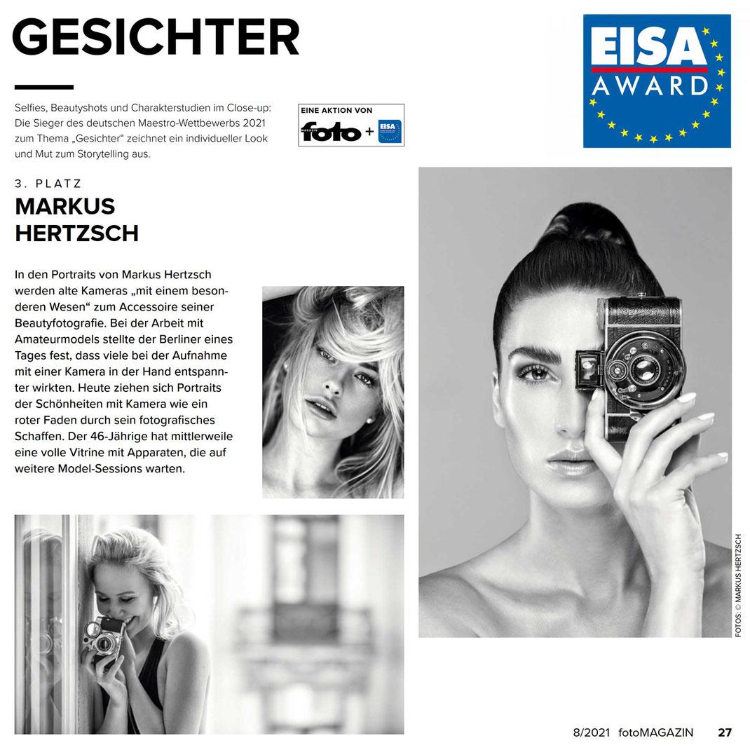 Fotomagazin 08 2021 - Markus Hertzsch - Girl - Model - Camera - Bokeh -  Portrait - Eisa Award
