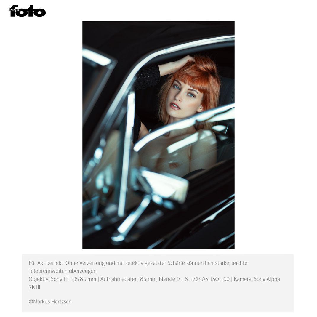Fotomagazin Online -  03 2021 - Markus Hertzsch - Girl - Model - Car - Redhead - Mustang - Nude - Portrait - V8 - Glass