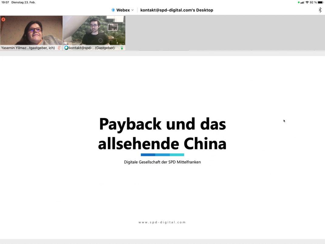 Payback und das allsehende China - Startfolie Webinar
