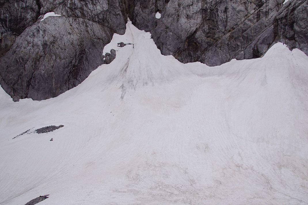 Der höchste Teil des Gletschers