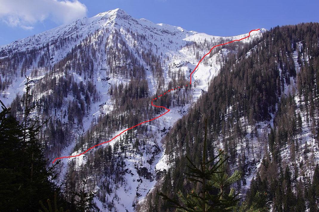 Der ungefähre Routenverlauf nach dem Forstwegende