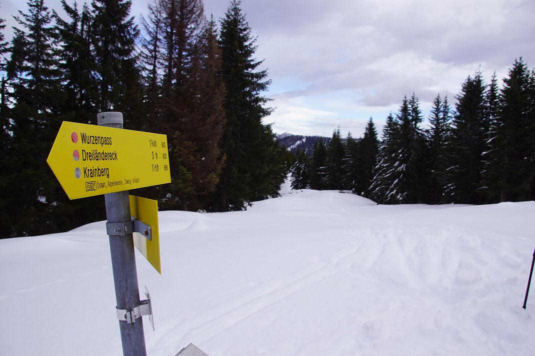Unspektakulärer Gipfel, der Steinberg, seines Zeichens aber höchste Erhebung der Gemeinde Arnoldstein