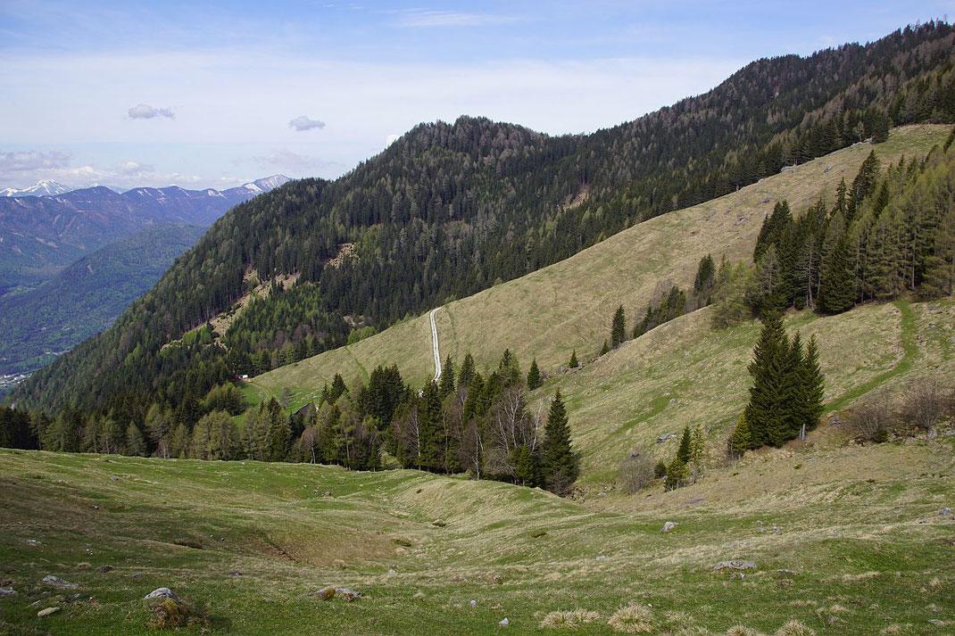 Beim Stall in 1400m Seehöhe, der Aufstieg erfolgt am grünen Weg rechts der Bildmitte