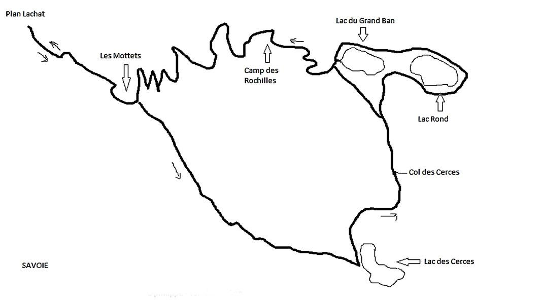 Carte randonnée des trois lacs dans les alpes