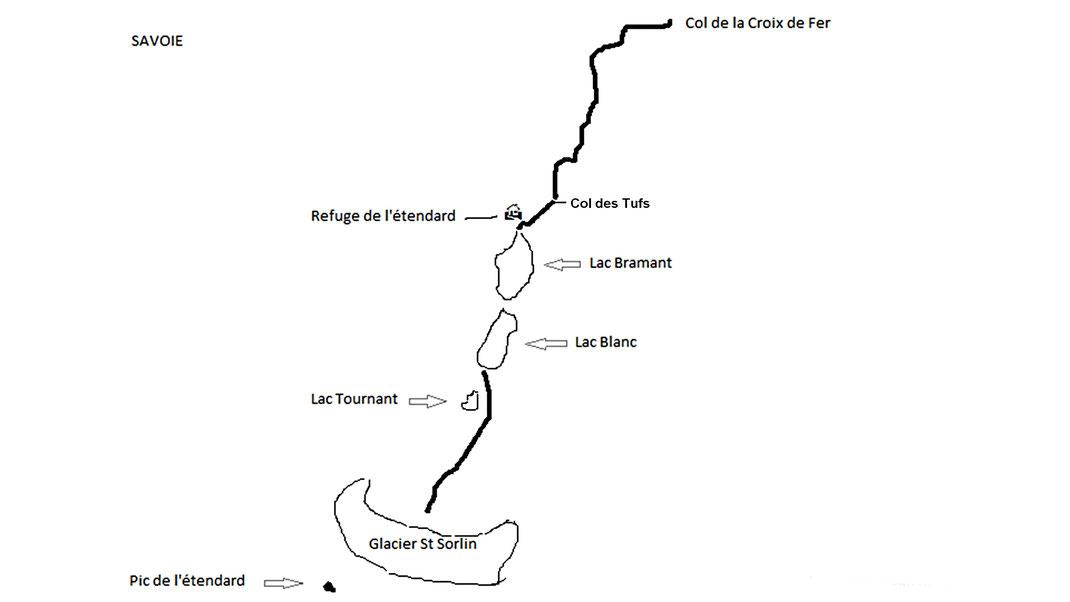 Carte randonnée du Glacier de St Sorlin