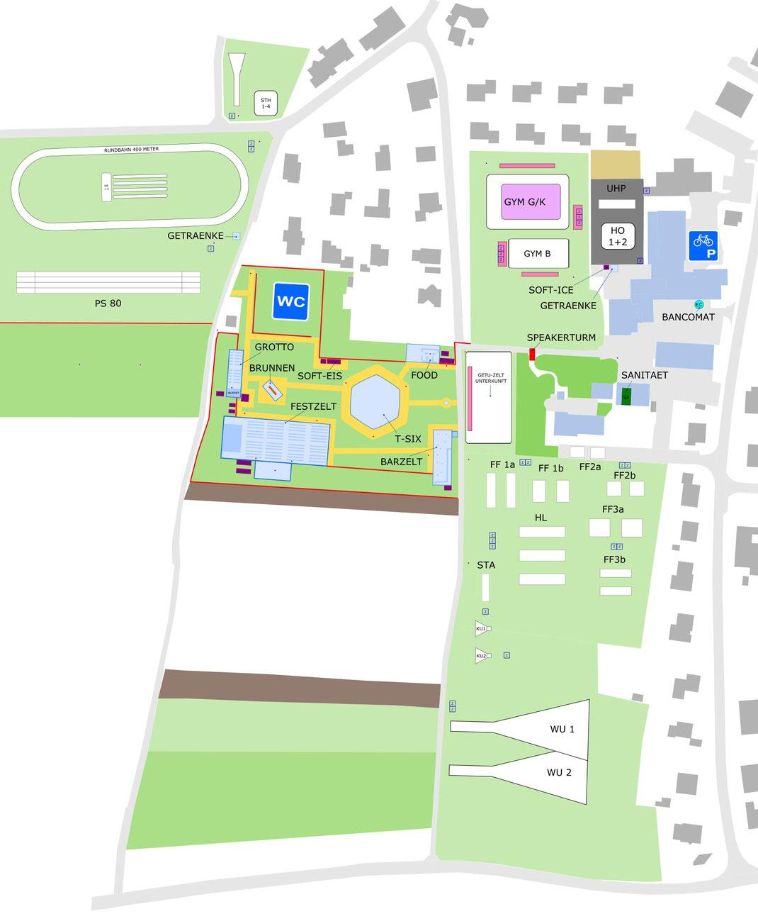 Turnfest 2018, Lageplan Kreisturnfest Dintikon 2018, Gastturnfest