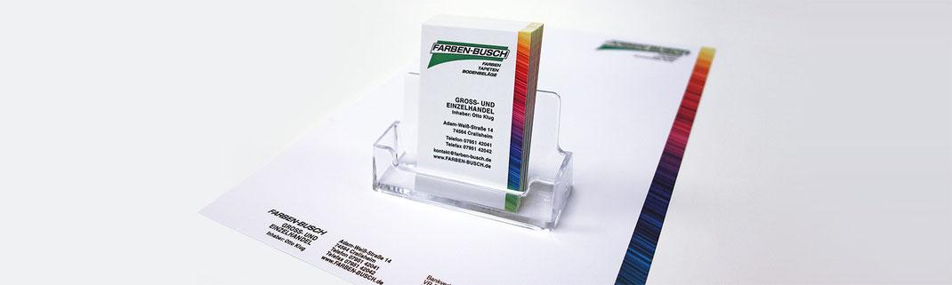Gestaltung Visitenkarten und Briefbogen in neuem Design für Farben-Busch Rundumwerbung Andreas Trump Crailsheim