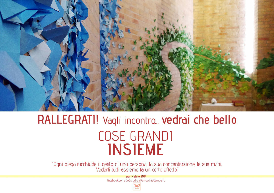 origami street art progetto creativo natale 2017 campalto vedraichebello grandicoseinsieme Daniele Conte Paesaggista Venezia