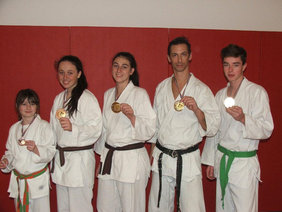 les médaillés du club lors des championnats de gironde 2015