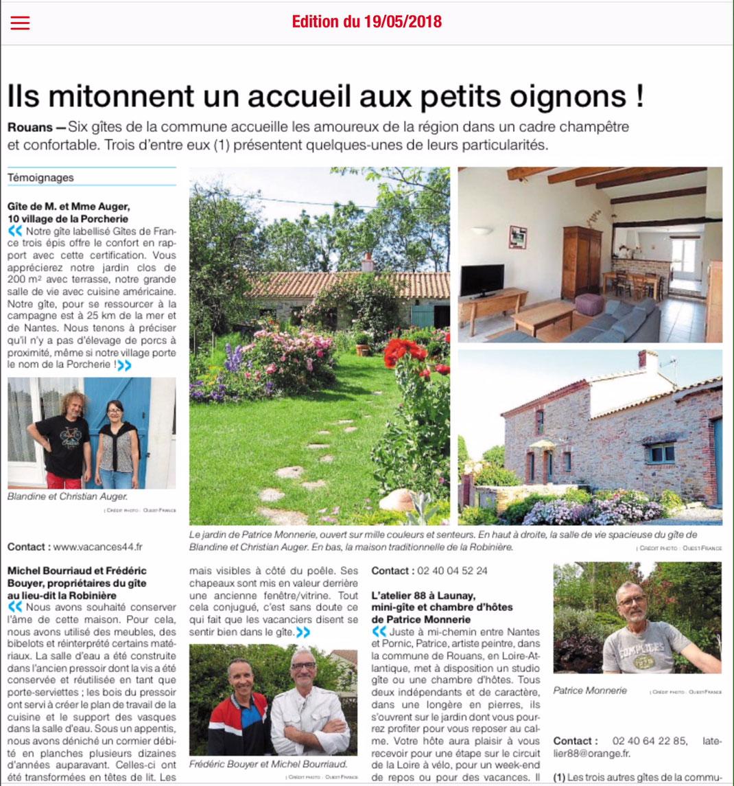 Les Jardins De La Robinière presse - gite la robiniere