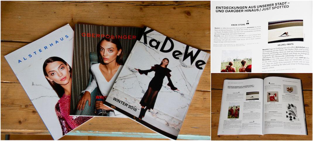 hejhej-mats würde in der Winter Ausgabe der Zeitung für das KaDeWe, Oberpollinger und Alsterhaus erwähnt.