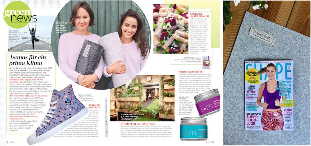 Artikel über hejhej-mats in den green news des Shape Magazine.