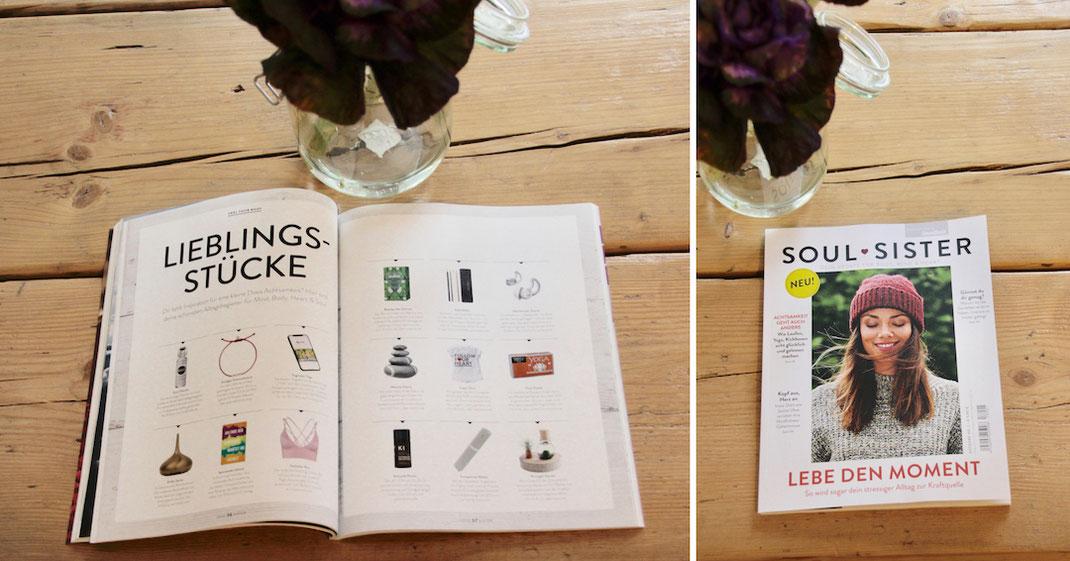 Produkt Erwähnung unserer recycelten Yogamatten im Soulsister Magazin. Ein neues Magazin über Achtsamkeit und bewusstes Leben.