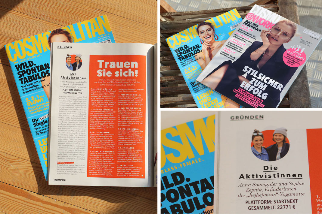 german start-up hjehej-mats in cosmopolitan magazine with their successful crowdfunding campaign.