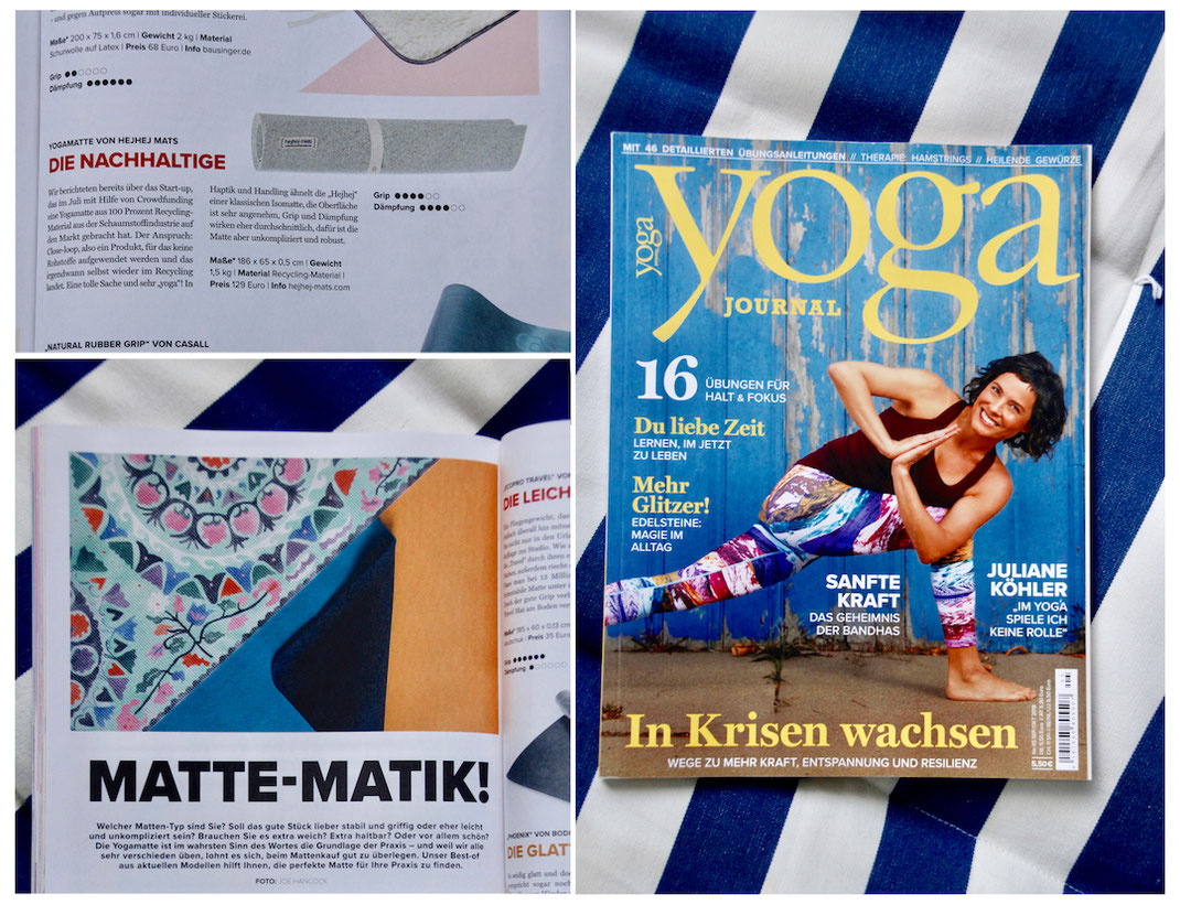 hejhej-mats were tested among other yoga mats in the issue of the german yoga journal. They won in the category sustainability.