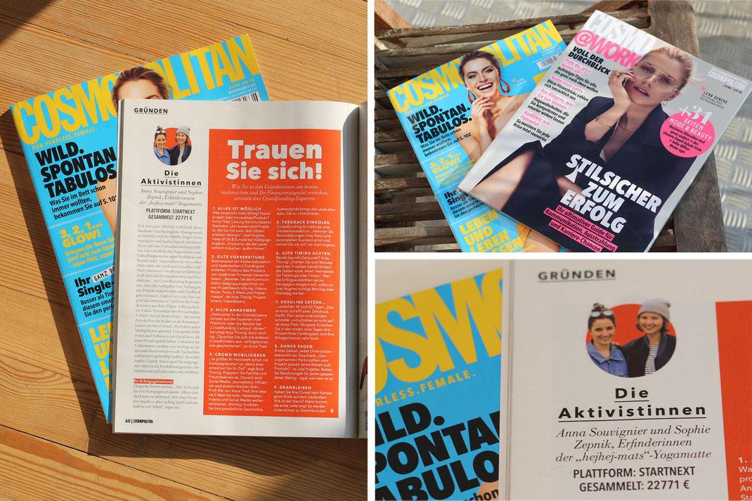 Die deutsche cosmopolitan berichtet über die erfolgreiche crowdfunding Kampagne von hejhej-mats.