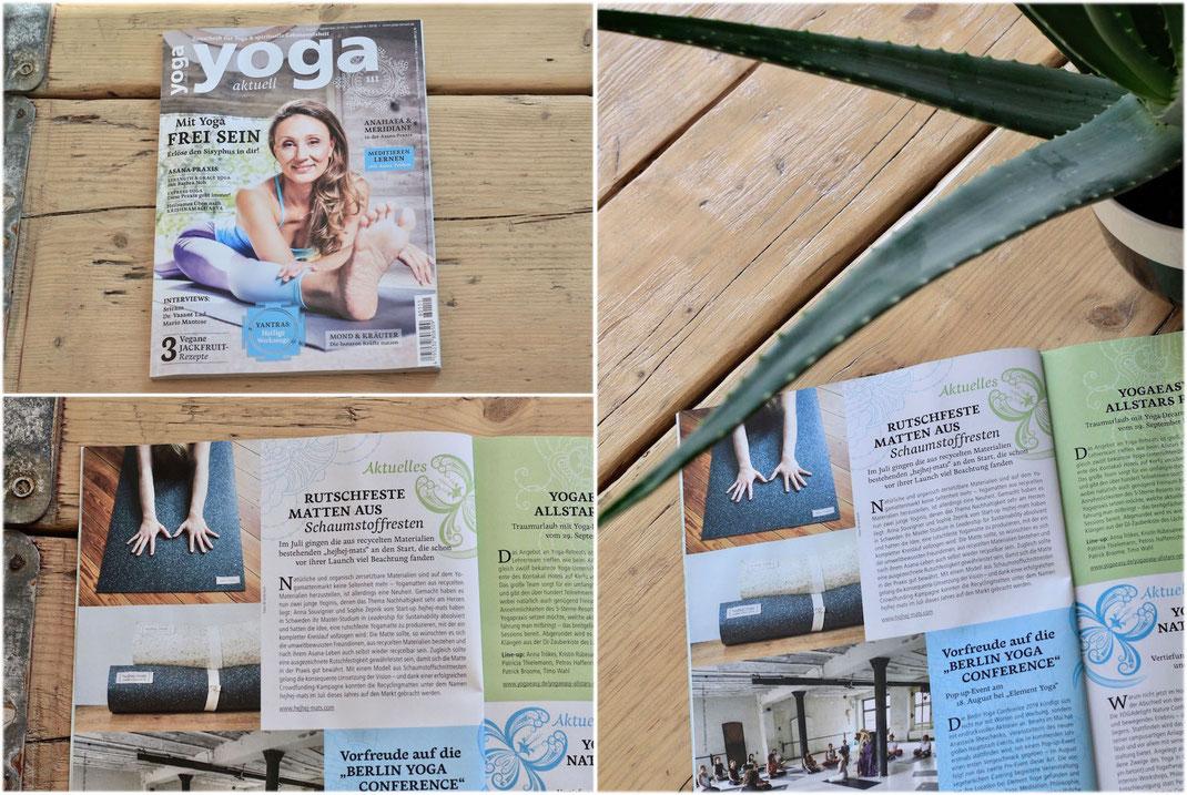 artikel über hejhej-mats in dem yoga magazine yoga aktuell.