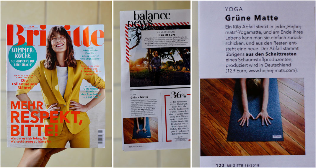 press article about sustainable start-up hejhej-mats in the german brigitte magazine for women.