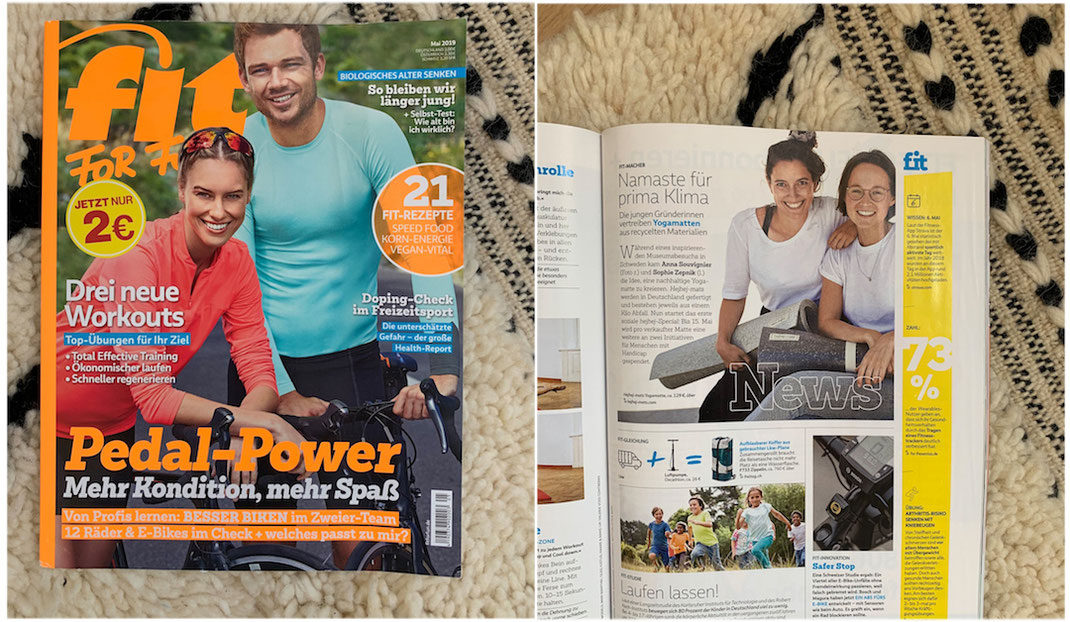 The founders of the sustainable start-up hejhej-mats got featured in the german fit for fun magazine.