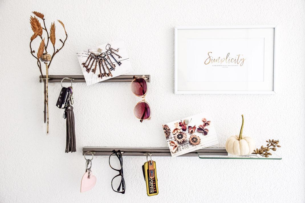 Alu Designleiste silver, Schlüsselbrett, Schlüsselaufbewahrung, Designfilz, Schlüssel, Kundenfeedback, Dekoration, Interior