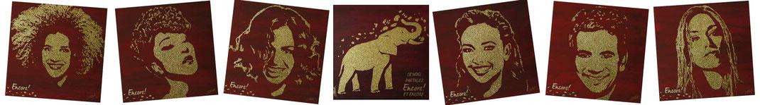 Portraits des célébrités et logo côte d'or réalisés en glitter painting par le peintre performer erik black