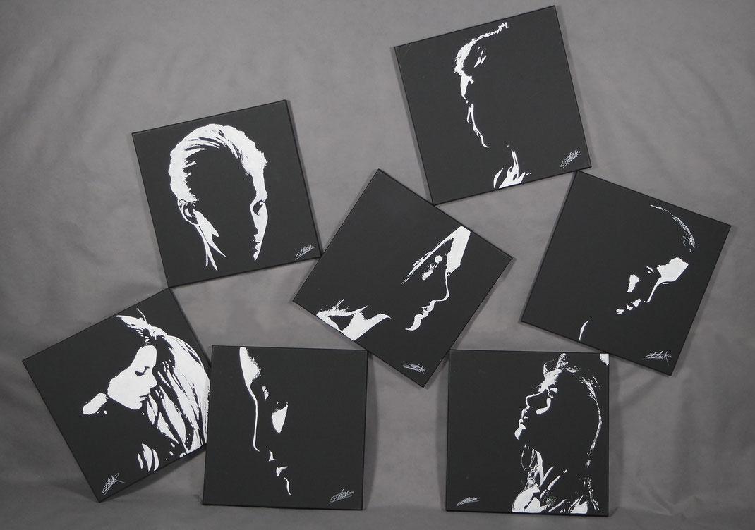 Plusieurs œuvres du peintre contemporain erik black - profils de femmes en clair obscure