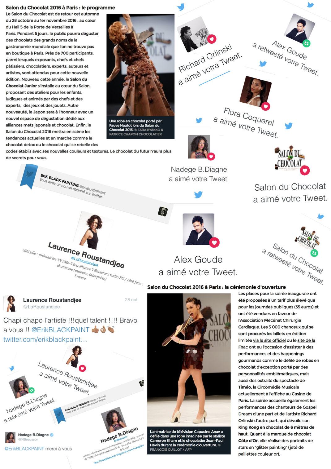 Programme et tweets du salon du chocolat avec erik black painting, amanda scott, laurence roustandjee, flora coquerel, alex goude