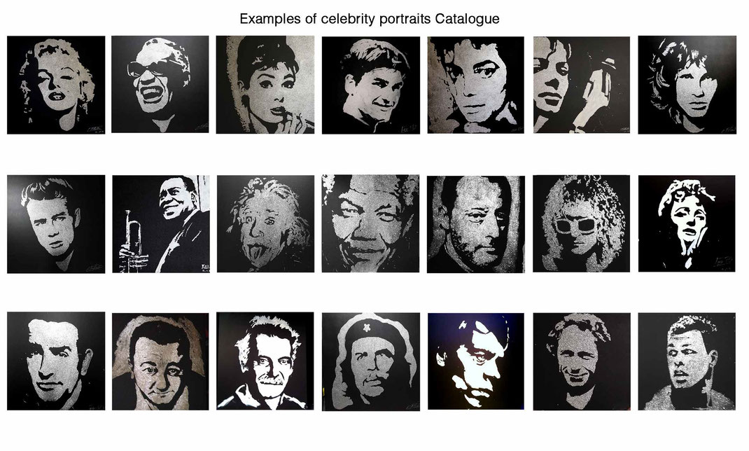 Examples of celebrity portraits, the catalog of the artist performer Erik Black - Glitter painting