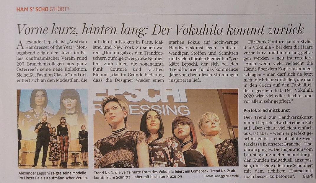 Bericht von OÖ-Nachrichten (November 2019) - Alexander Lepschi - Roadtrip 2019 - Fashion Classics Collection 2020