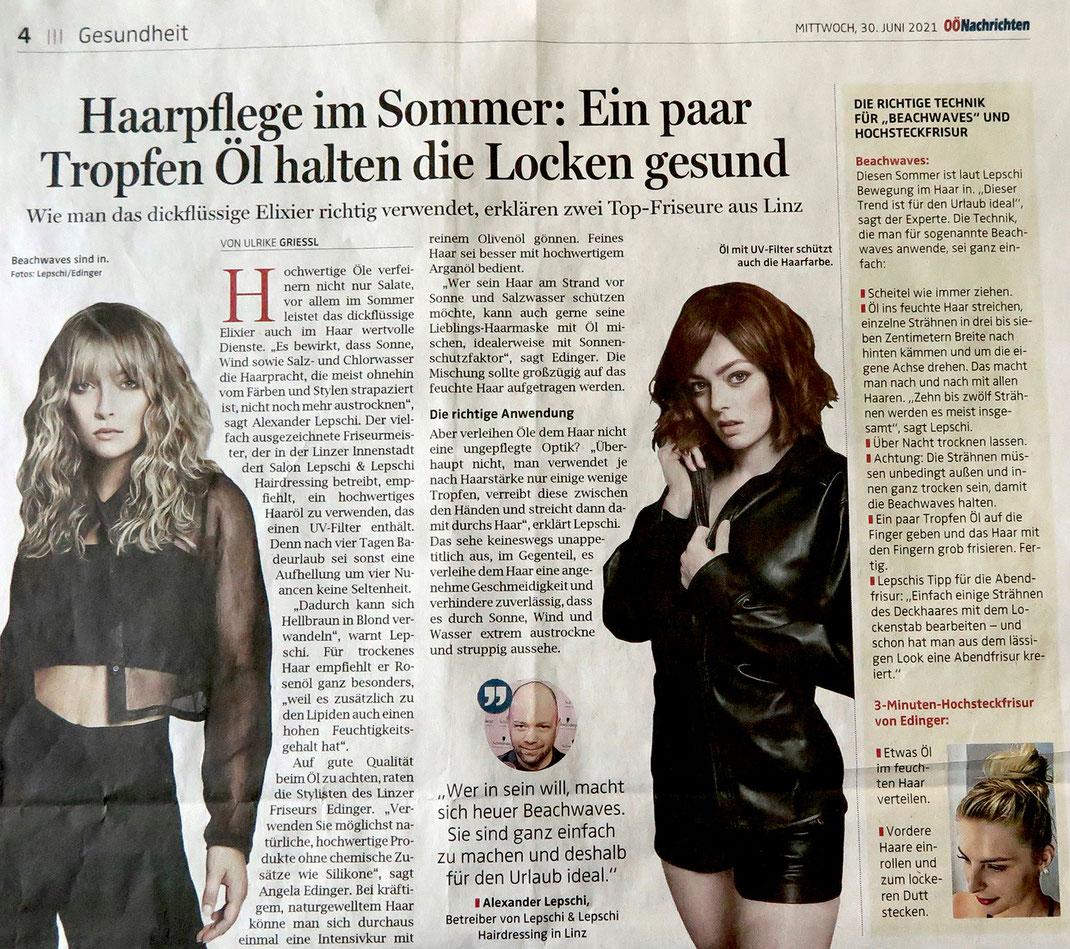 Bericht von OÖN (Juni 2021) - Haarpflege im Sommer - Lepschi&Lepschi Hairdressing Linz
