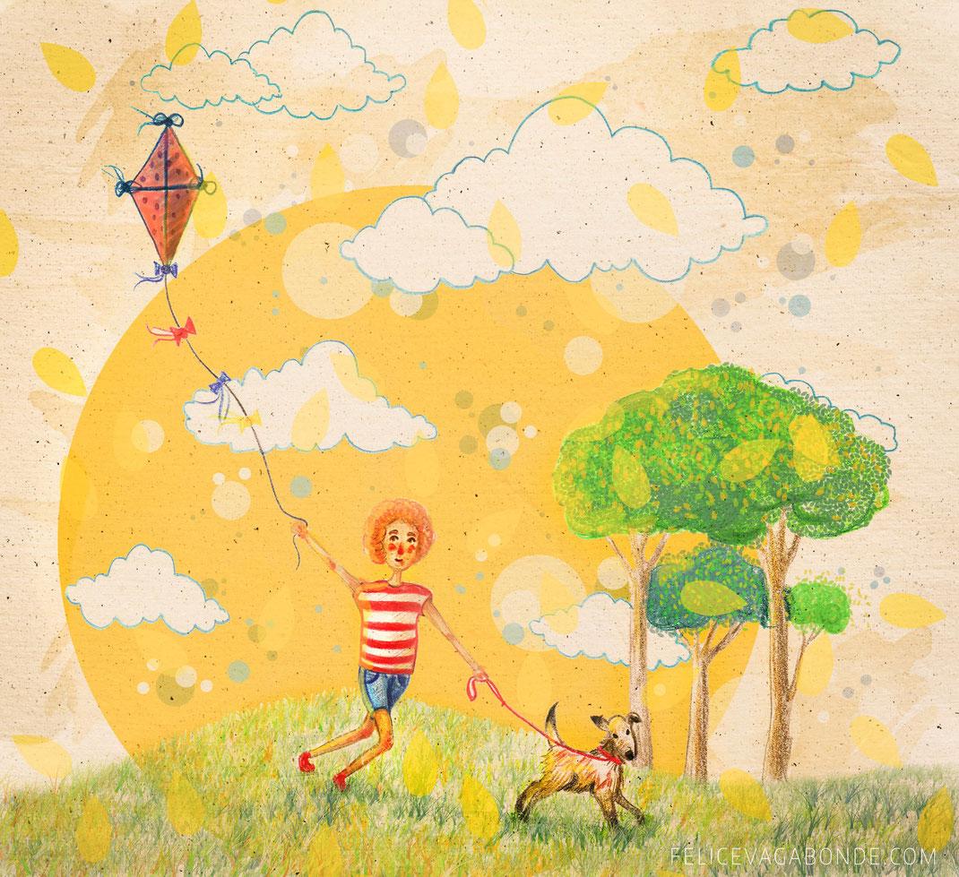 Kinderbuch-Illustration: Herbst. (c) Felice Vagabonde 2015