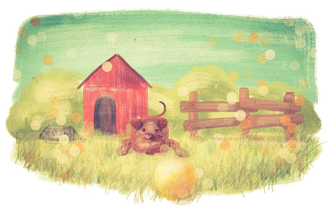 Kinderbuch Illustration: Hundehütte (c) Felice Vagabonde, 2015