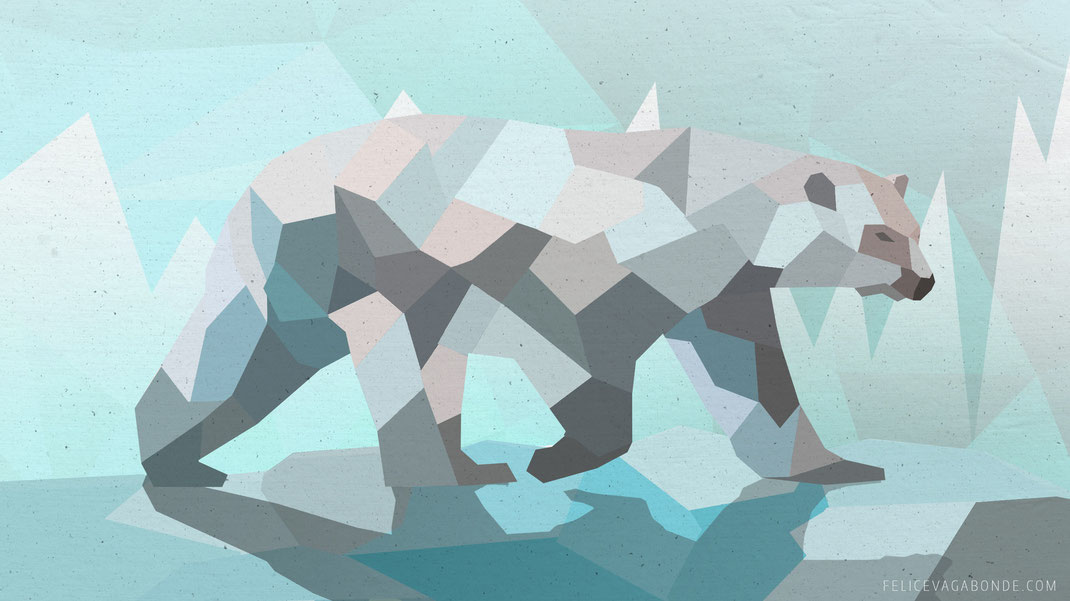 lowpoly - illustration aus hamburg: eisbär