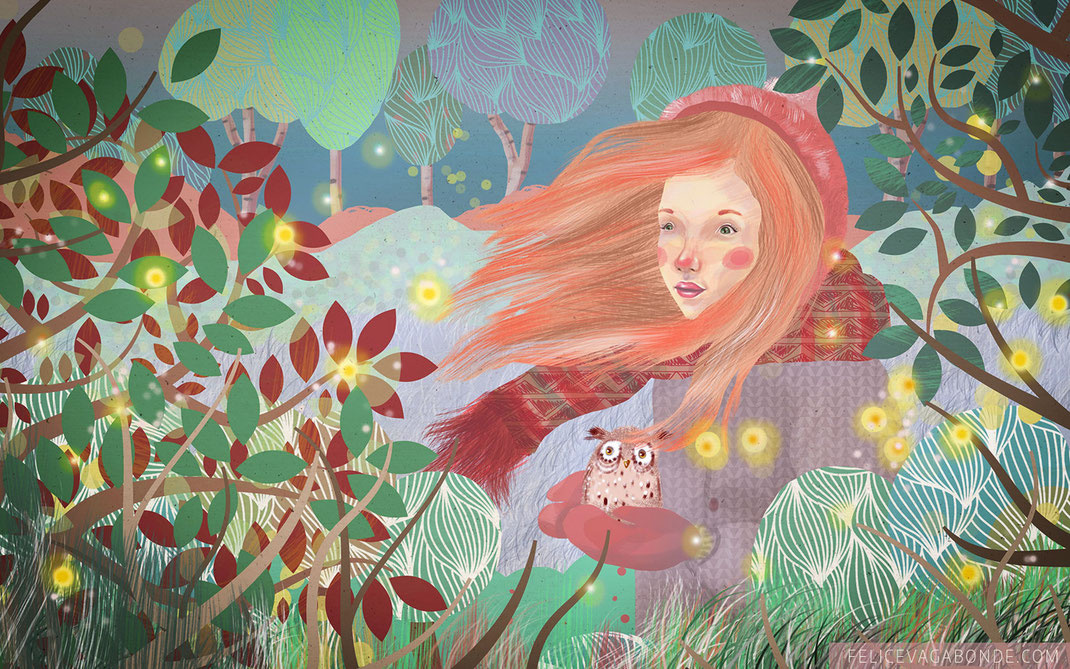 "Kinderbuch - Illustration ""Eulenmädchen"", (c) Felice Vagabonde 2015"
