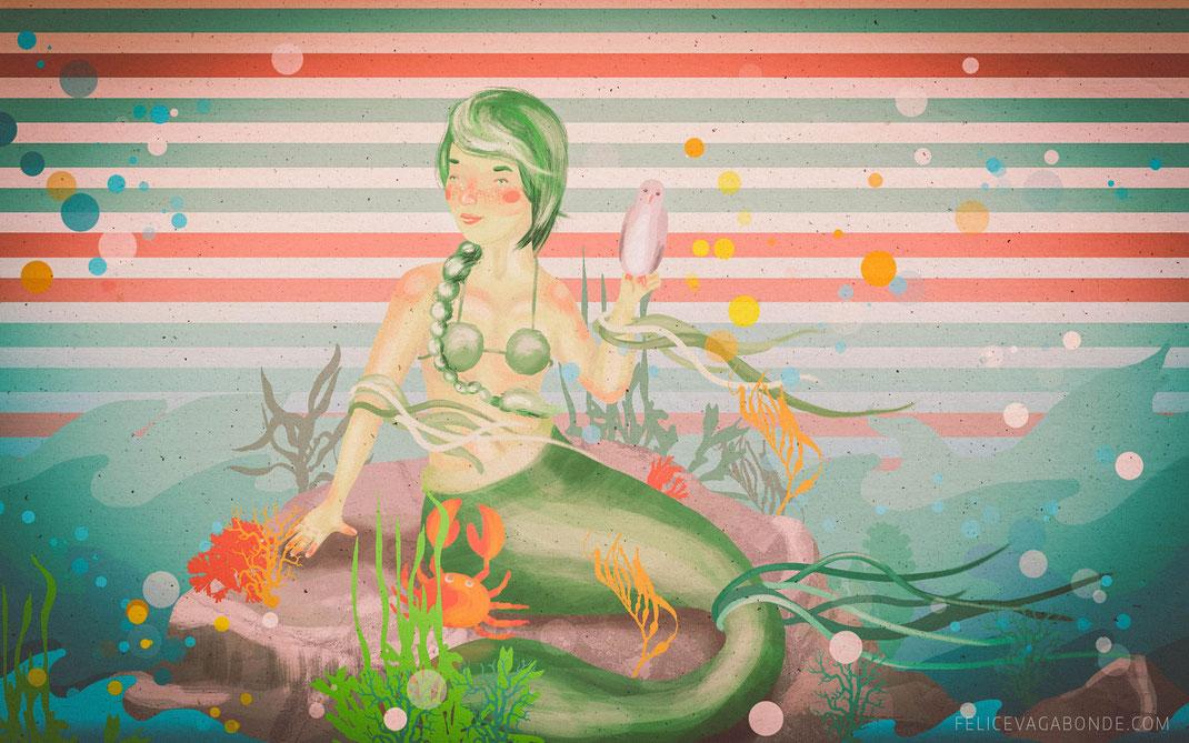 Kinderbuch Illustration: Meerjungfrau (c) Felice Vagabonde, 2015