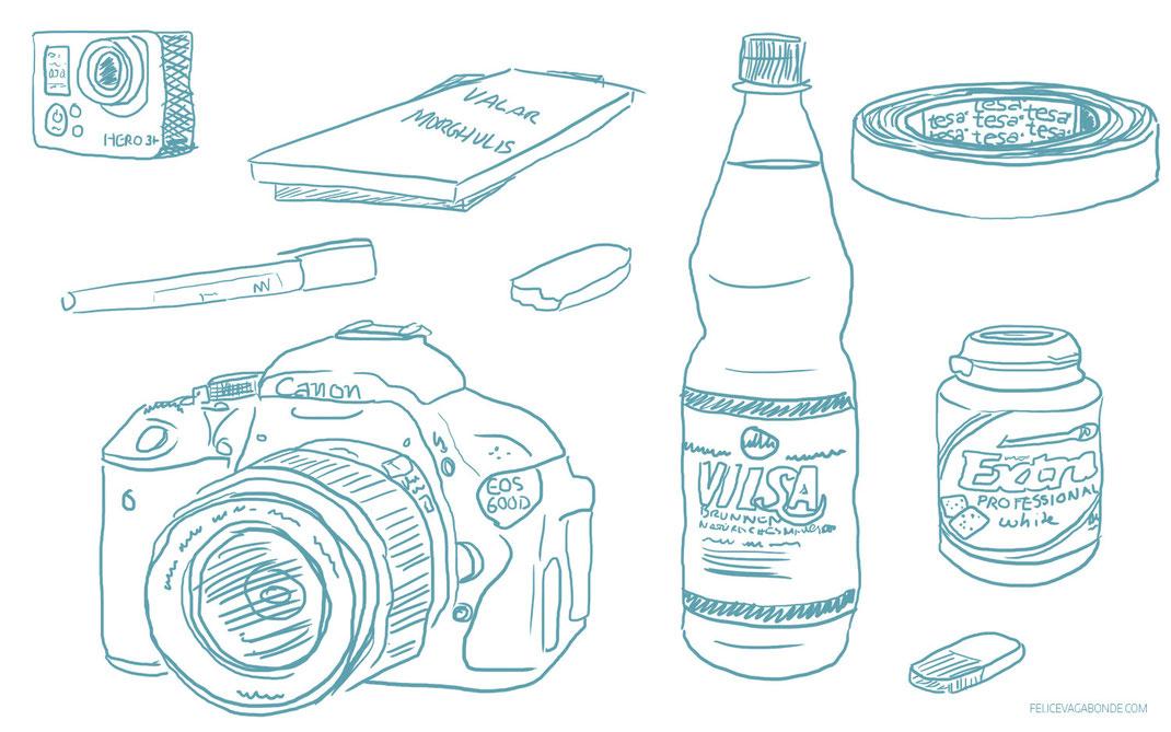 illustration eines schreibtischinhalts