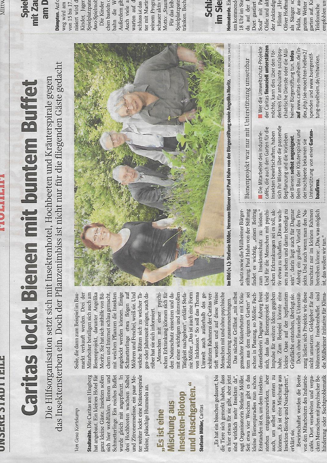 Die Bürgerstiftung Mülheim setzt sich für Bienen-Projekte ein. Hier ein Bericht aus der WAZ Mülheim von Juli 2018.